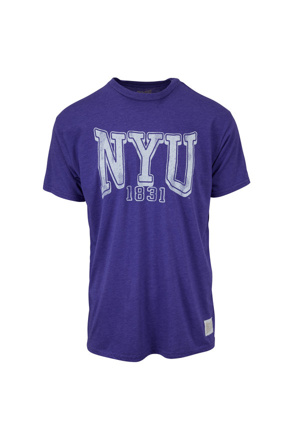 Retro Brand Purple NYU Logo T-Shirt