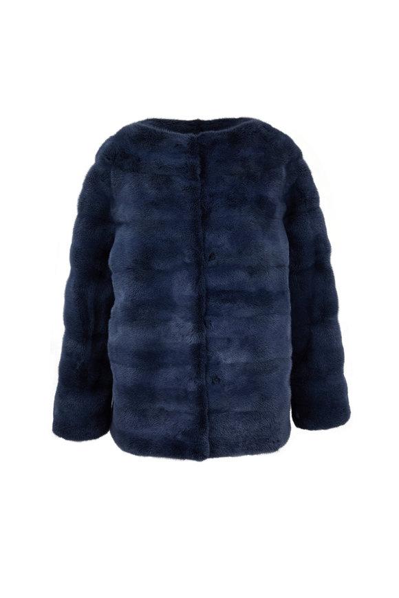Oscar de la Renta Furs Denim Dyed Mink Funnel Neck Jacket
