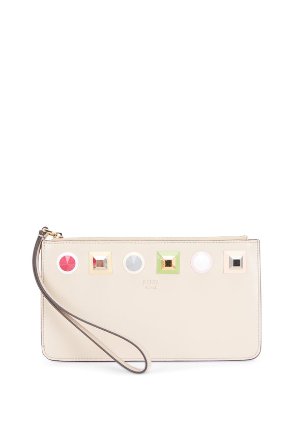 Fendi Beige Multi Studded Leather Pouch