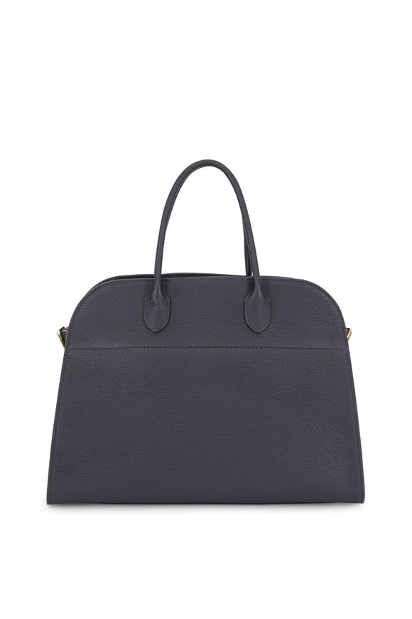 The Row Margaux 15 Black Grained Leather Large Tote