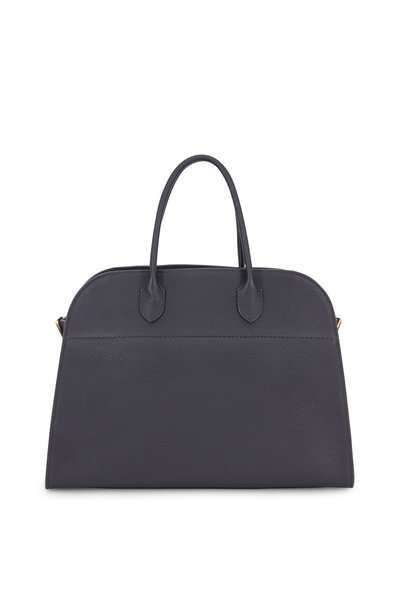 The Row - Margaux 15 Black Grained Leather Large Tote