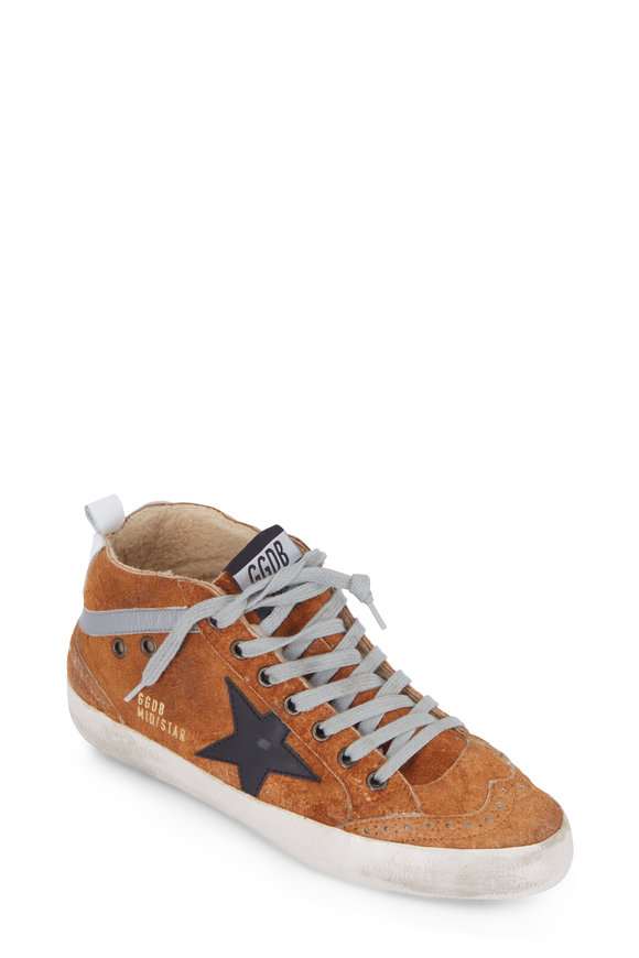 Golden Goose Mid Star Brown Suede Shearling Lined Sneaker