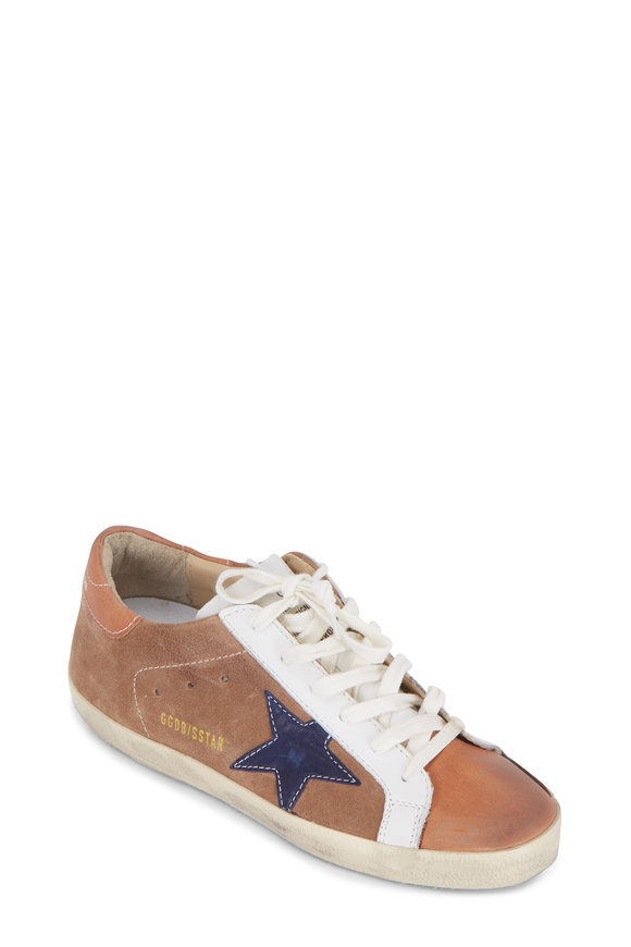 Golden Goose Women's Superstar Tan Suede & Indigo Star Sneaker
