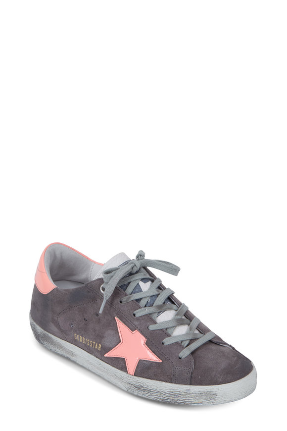 Golden Goose Superstar Gray Suede & Coral Star Sneaker