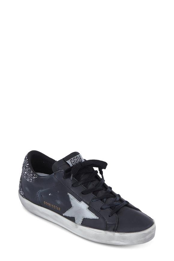 Golden Goose Superstar Black Leather Silver Glitter Sneaker