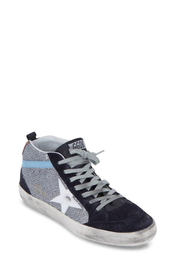 Golden Goose Mid Star Navy Blue Suede Disco Glitter Sneaker