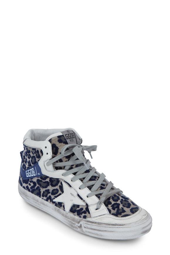 Golden Goose Navy Leopard Velvet 2.12 Sneaker