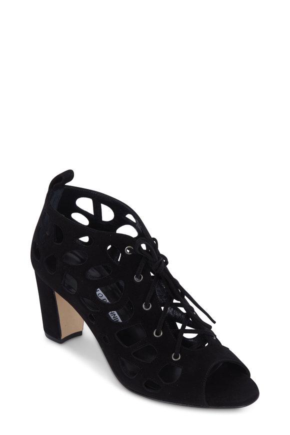 Manolo Blahnik Gongolamod Black Suede Lace-Up Sandal, 70mm