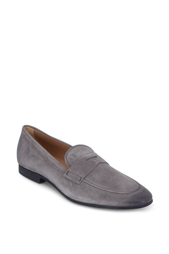 Tod's Gomma Gray Suede Classic Penny Loafer