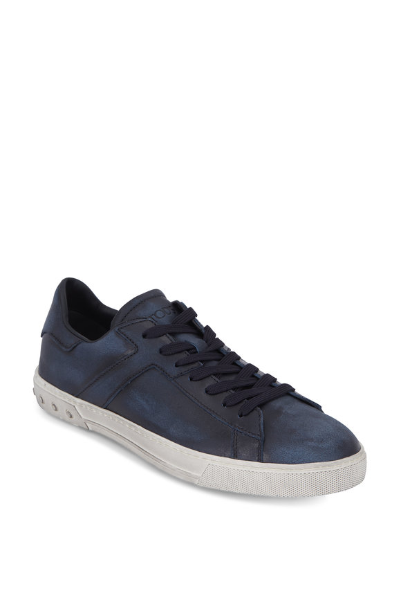 Tod's Navy Blue Burnished Suede Sneaker