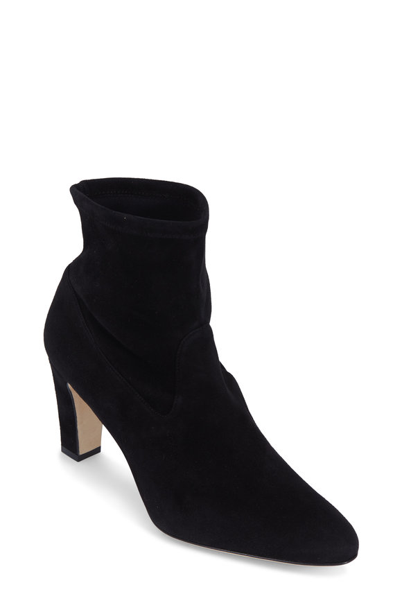 Manolo Blahnik Pascalow Black Stretch Suede Ankle Boot, 70mm