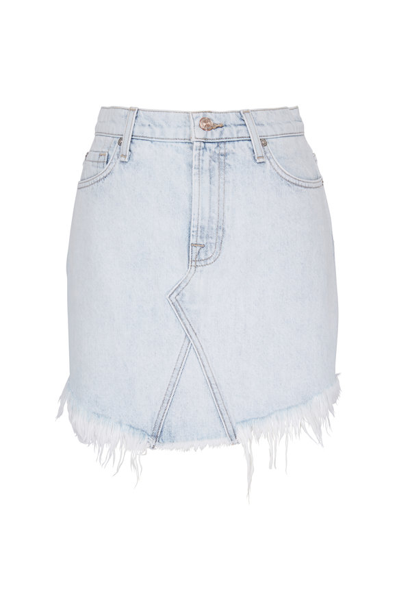 7 For All Mankind Scallop Frayed Hem Denim Skirt