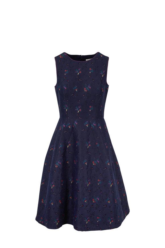 Carolina Herrera Dark Navy Floral Printed Sleeveless Dress