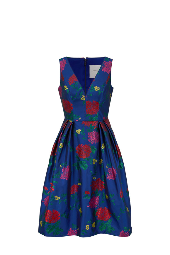 Carolina Herrera Midnight Blue Floral Jacquard Cocktail Dress