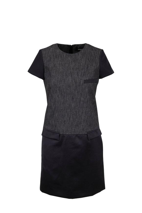 Paule Ka Black Denim Mixed Media Dress