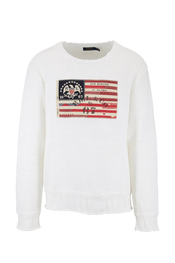 Polo Ralph Lauren White Cotton American Flag Patch Sweater