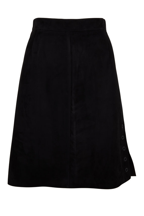 Akris Punto Black Suede Eyelet Detail A-Line Skirt