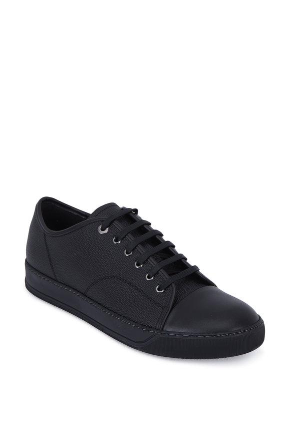 Lanvin Black Grained Leather Low-Top Sneaker