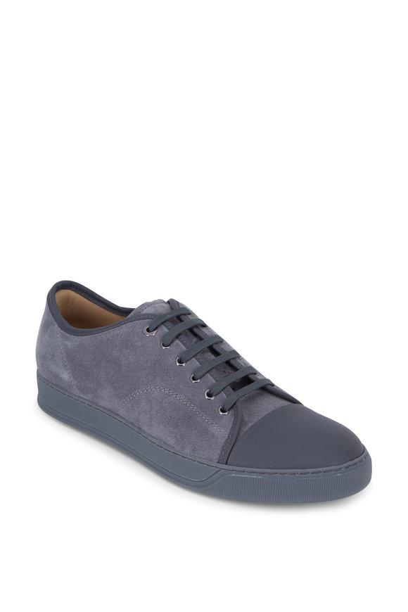 Lanvin Aged Gray Suede Cap-Toe Sneaker