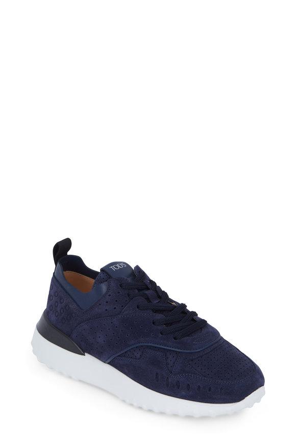 Tod's Navy Blue Suede Sneaker