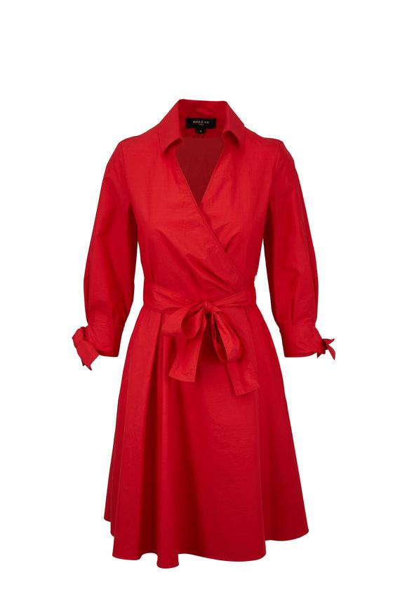 Paule Ka Red Pleated Skirt Wrap Dress