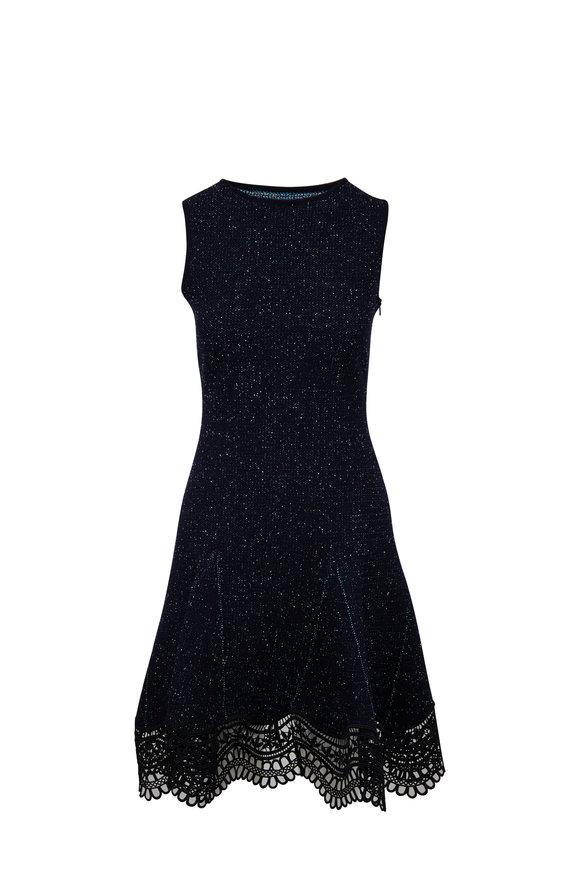 Oscar de la Renta Black Knit Tweed Guipure Lace Hem Sleeveless Dress