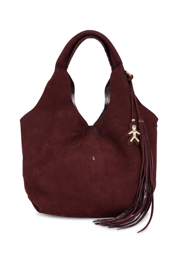 Henry Beguelin Canotta Burgundy Suede Hobo Bag