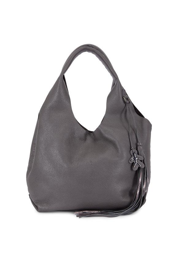 Henry Beguelin Canotta Dark Gray Grained Leather Medium Bag