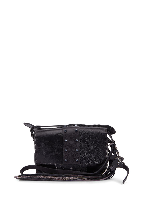 Henry Beguelin Ada Black Leather Small Studded Lux Bag