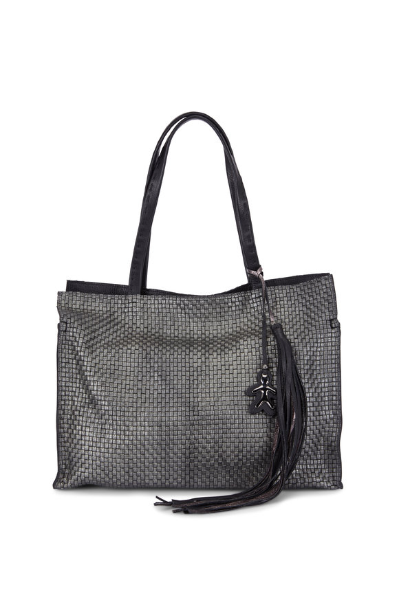 Henry Beguelin Elba Black Woven Leather Shopping Bag