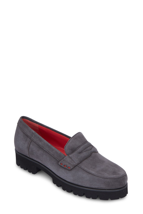Pas de Rouge Marta Gray Suede Lug Sole Penny Loafer