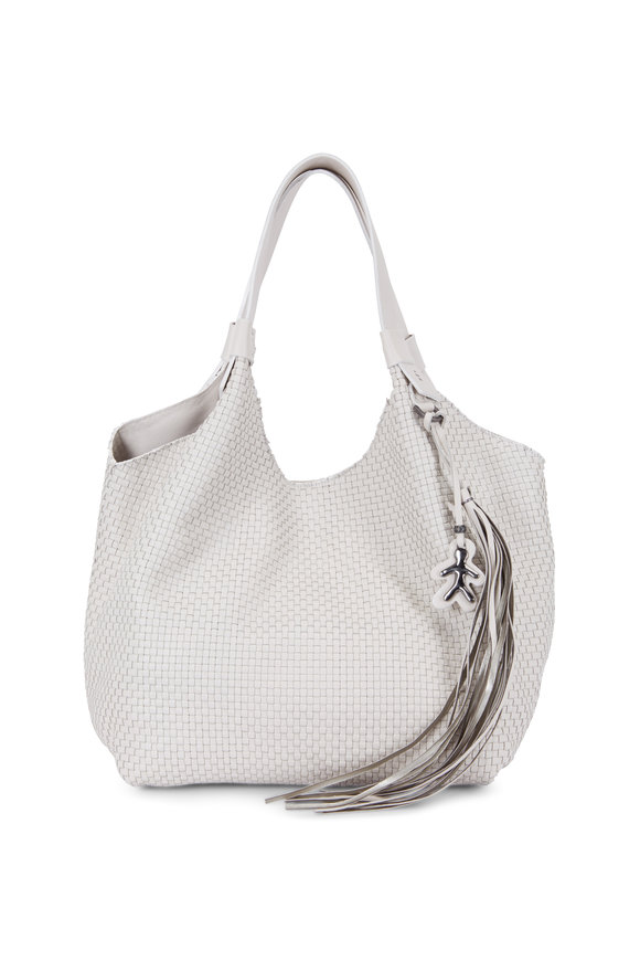 Henry Beguelin Ardessia White Woven Leather Large Hobo Bag