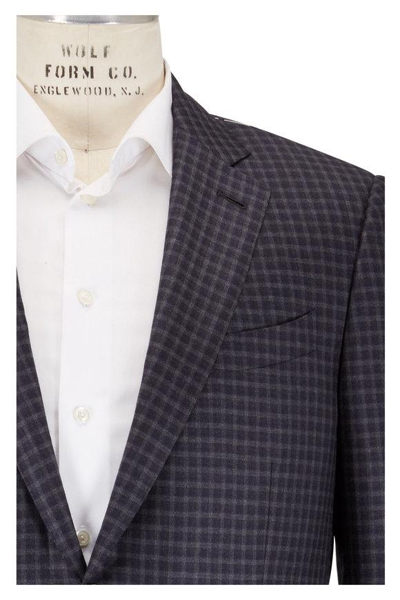 Ermenegildo Zegna Gray & Navy Check Wool Sportcoat