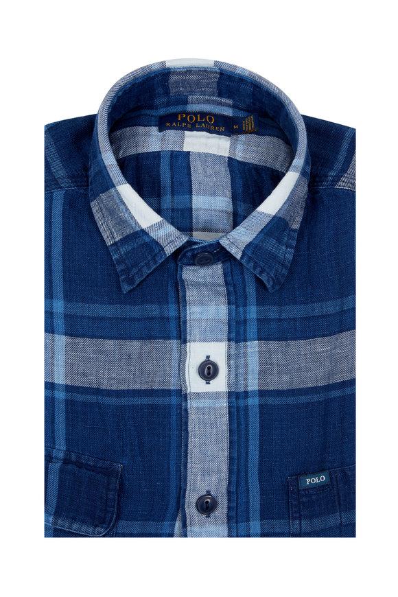 Polo Ralph Lauren Indigo & White Plaid Short Sleeve Sport Shirt