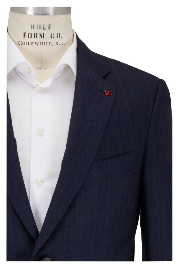 Isaia Navy Blue Tonal Striped Wool Suit