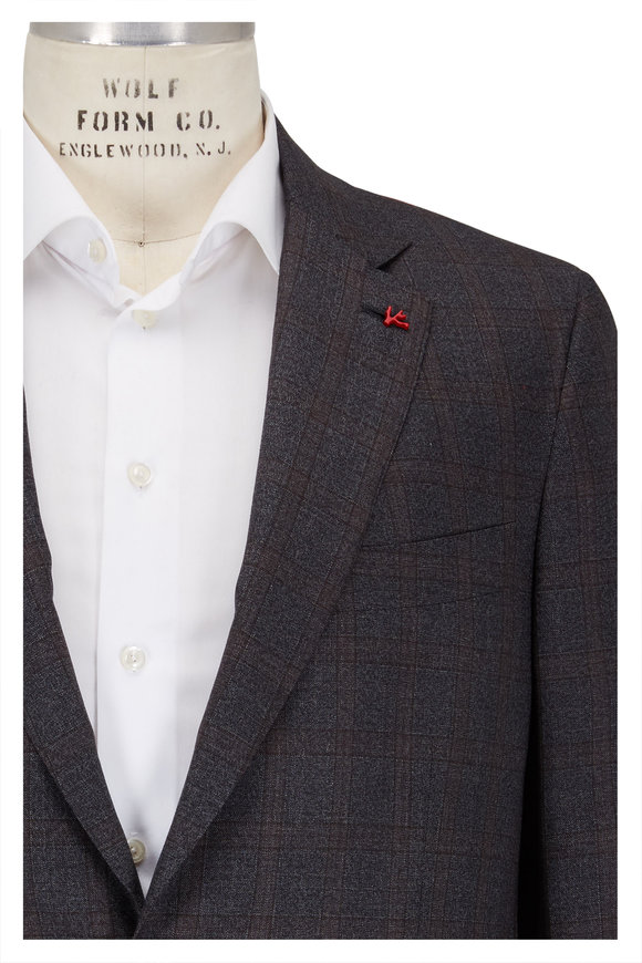 Isaia Charcoal Gray Wool Melange Windowpane Suit