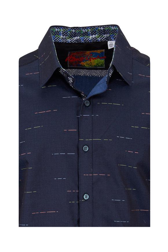 Robert Graham Port Vila Navy Blue Linear Classic Fit Sport Shirt
