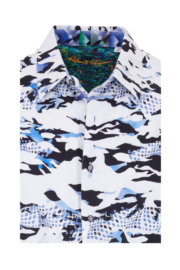 Robert Graham Scales White & Blue Camo Classic Fit Sport Shirt