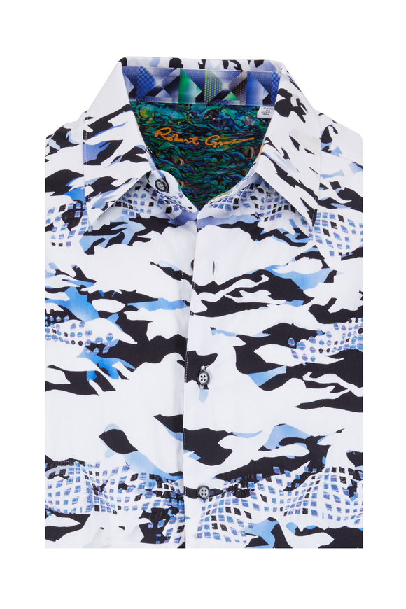 Robert Graham Scales White & Blue Camo Classic Fit Sport Shirt