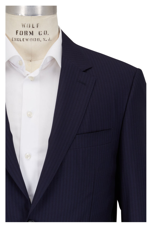 Canali Navy Blue Tonal Striped Wool Suit