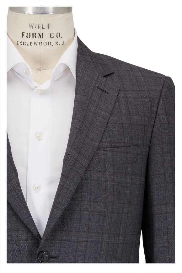Canali Charcoal Gray Shadow Plaid Wool Suit