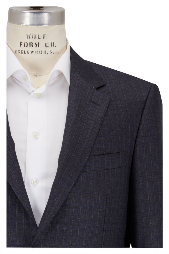Canali Charcoal Gray Striped Wool Suit