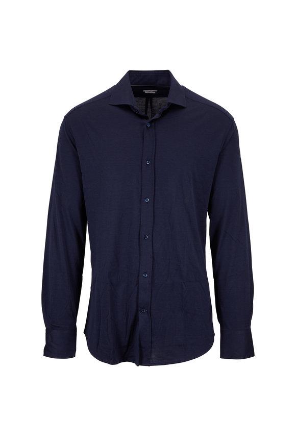 Brunello Cucinelli Navy Blue Silk & Cotton Long Sleeve Slim Fit Polo