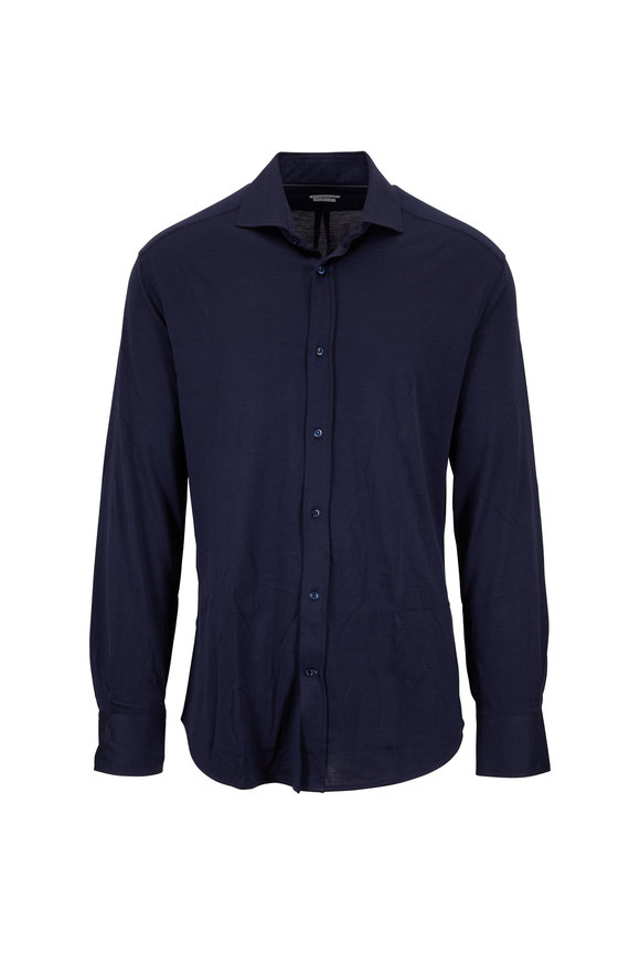 Brunello Cucinelli Navy Blue Silk & Cotton Long Sleeve Slim Fit Polo