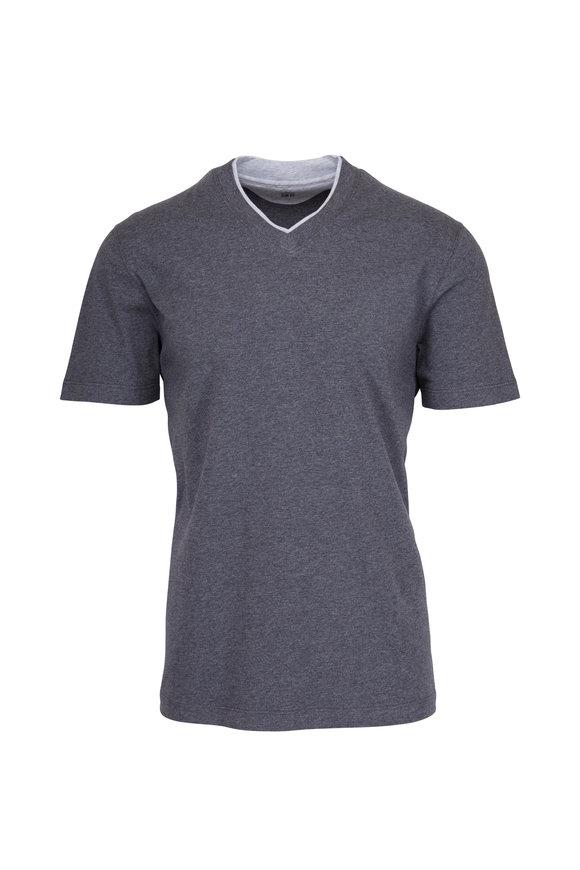 Brunello Cucinelli Charcoal Grey V-Neck T-Shirt
