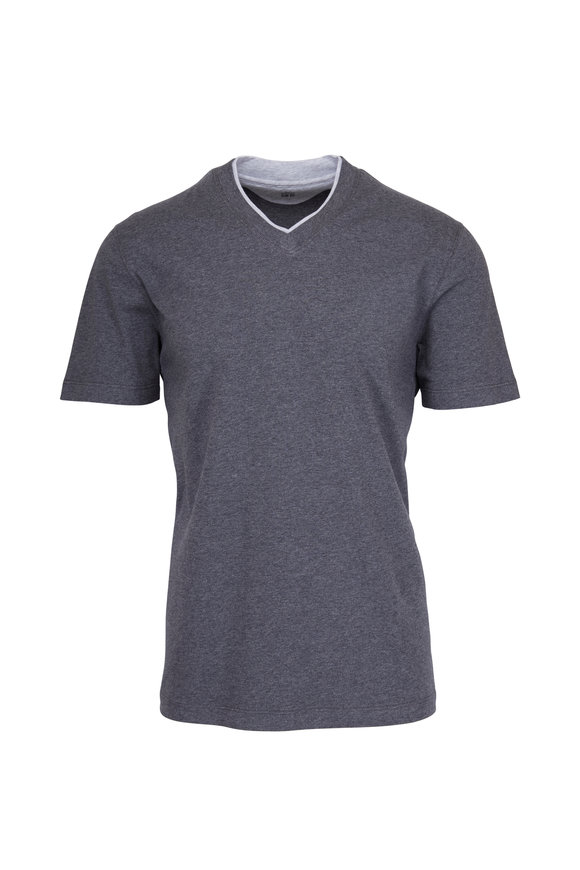 Brunello Cucinelli Charcoal Grey V-Neck T-Shirt