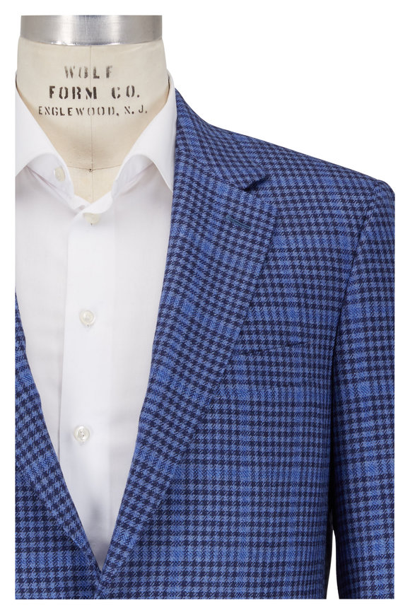 Canali Blue Check With Plaid Wool & Cashmere Sportcoat