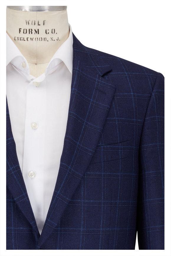 Canali Dark Blue Windowpane Silk & Wool Sportcoat