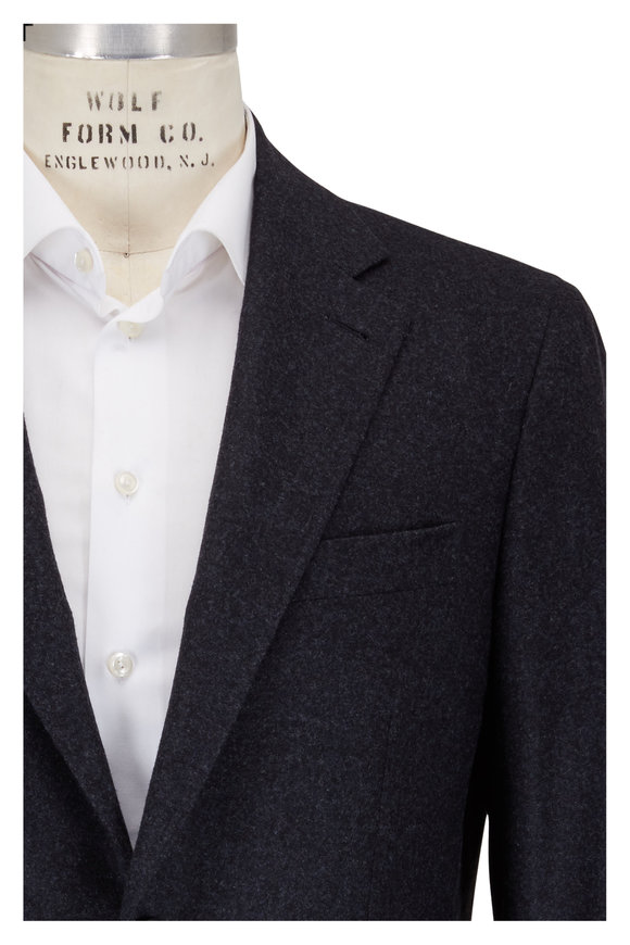 Canali Solid Charcoal Gray Wool Melange Sportcoat