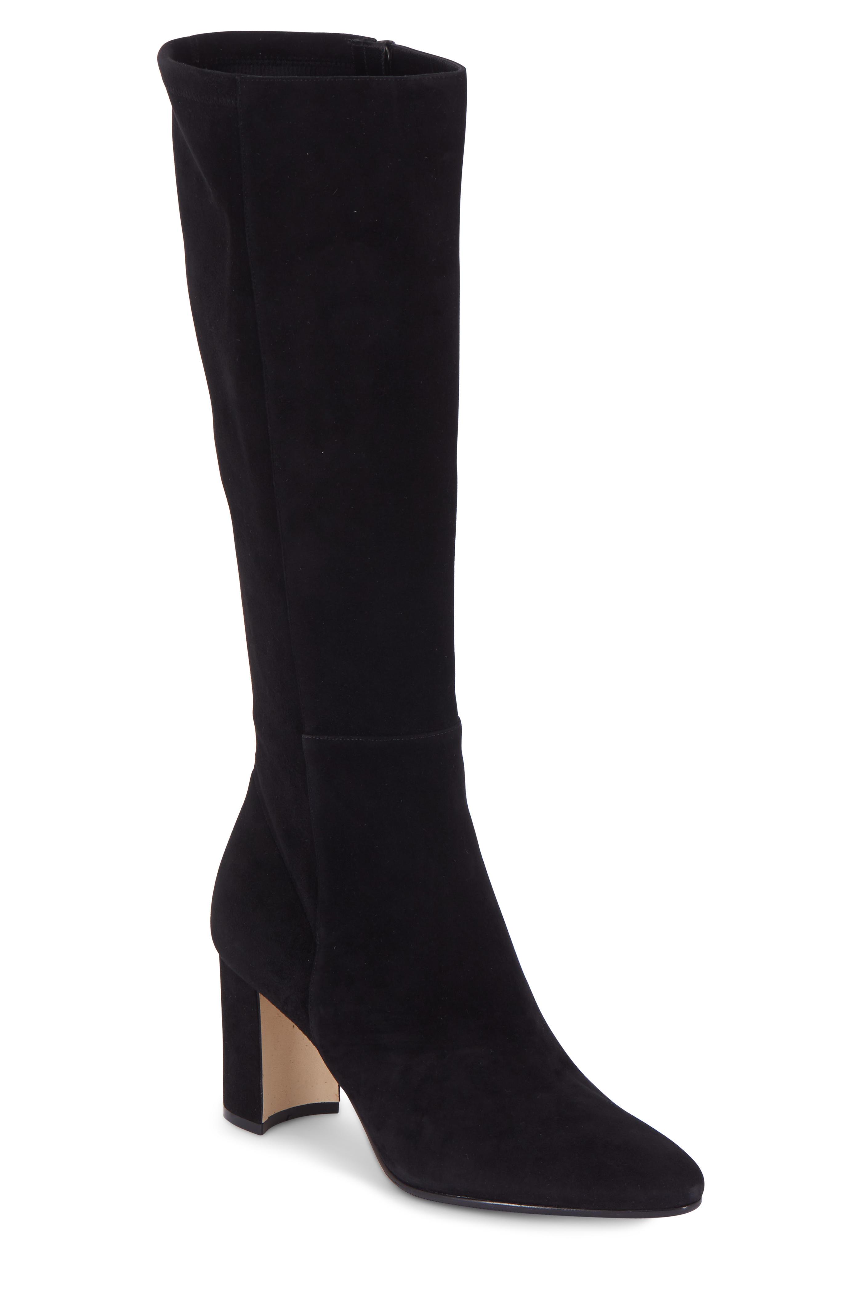 Manolo Blahnik Pita Black Stretch Suede Knee High Boot 70mm Mitchell Stores